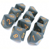 Grey & Copper Opaque D10 Ten Sided Dice Set